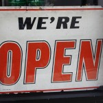 "CC Licensed image ""We're Open"" sign by dlofink"